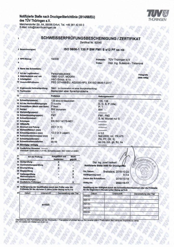 ISO 9606-1 135 P BW FM1 S s12 PF ss nb
