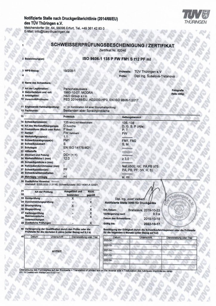 ISO 9606-1 135 P FWFM1 S t12 PF ml